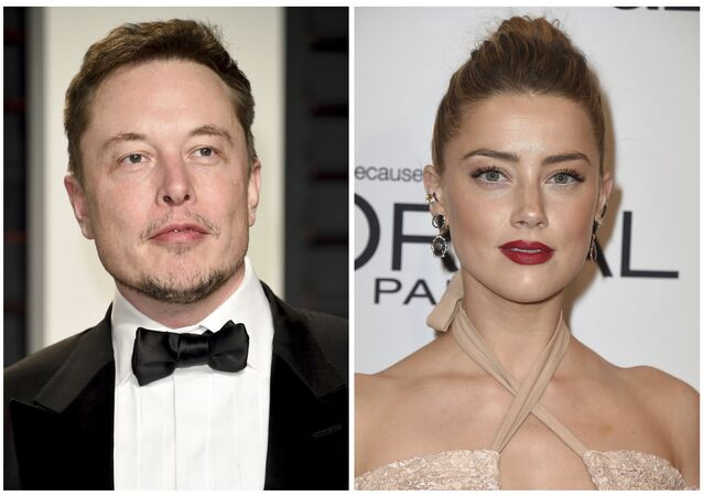 This combination photo shows Elon Musk at the Vanity Fair Oscar Party on Feb. 26, 2017, in Beverly Hills, Calif., left, and actress Amber Heard at the Glamour Women of the Year Awards on Nov. 14, 2016, in Los Angeles