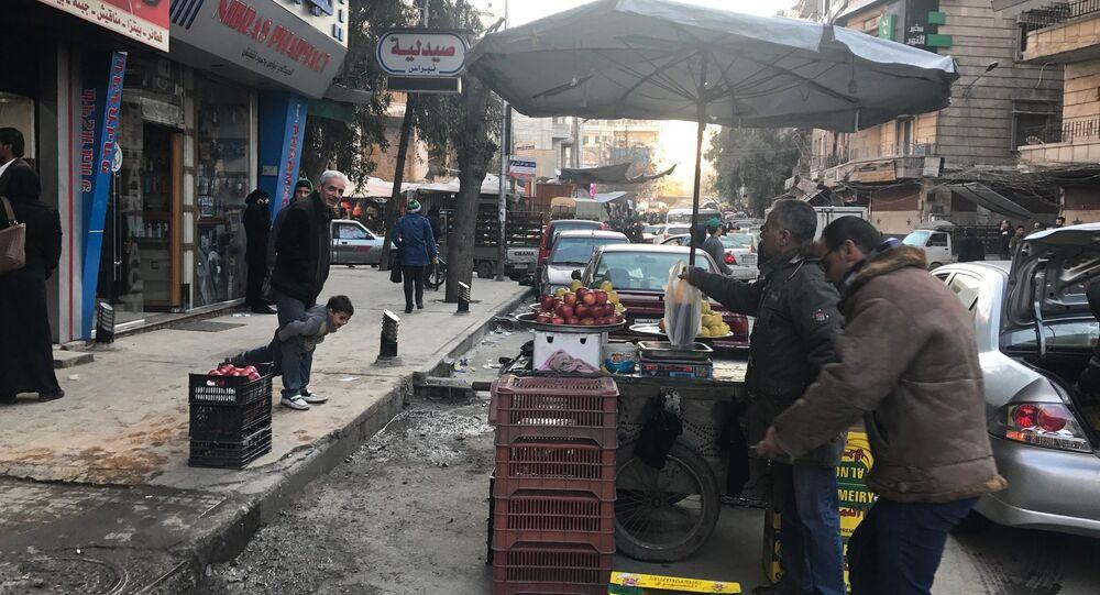 Citizens in Midan district in Aleppo, Syria