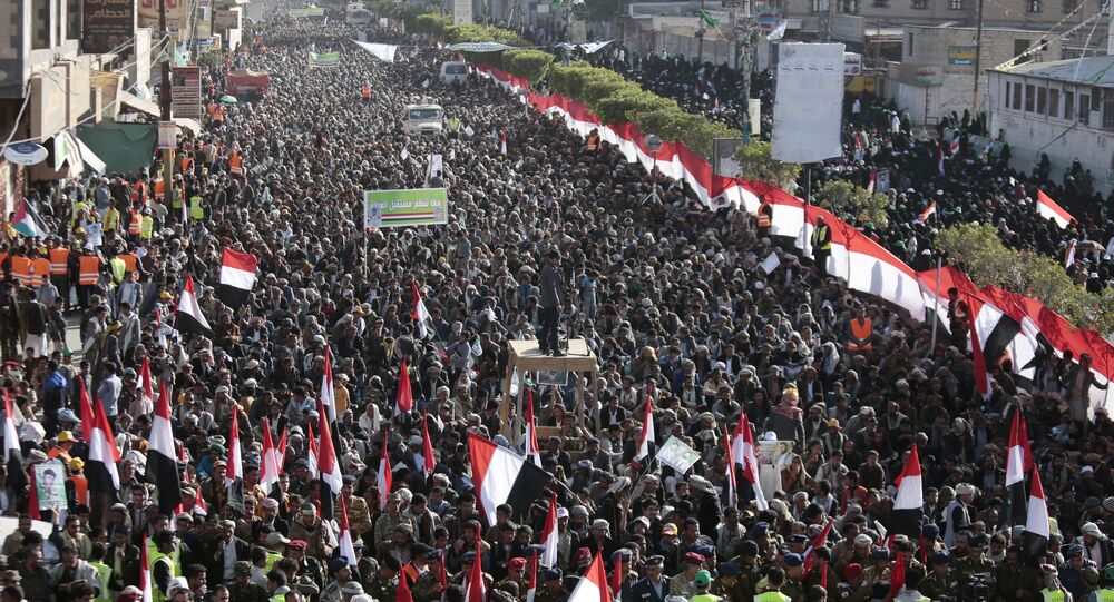 Supporters of Shiite Houthi rebels attend a rally in Sanaa, Yemen, Tuesday, Dec. 5, 2017. The killing of Yemen's ex-President Ali Abdullah Saleh by the country's Shiite rebels on Monday, as their alliance crumbled, has thrown the nearly three-year civil war into unpredictable new chaos.