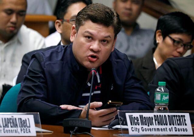 Paolo Duterte, Davao's Vice Mayor and son of President Rodrigo Duterte, testifies at a Senate hearing on drug smuggling in Pasay, Metro Manila, Philippines, September 7, 2017