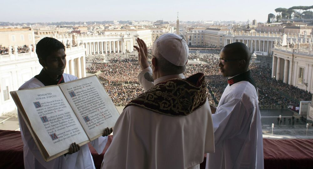 Pope Francis delivers the Urbi et Orbi (Latin for ' to the city and to the world') Christmas' day blessing from the main balcony of St. Peter's Basilica at the Vatican, Monday, Dec. 25, 2017