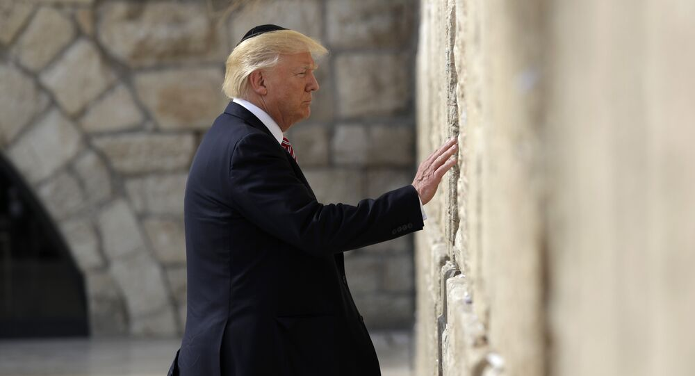 President Donald Trump visits the Western Wall, Monday, May 22, 2017, in Jerusalem