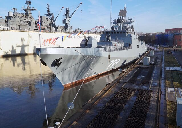 The ceremony to raise the naval ensign on Admiral Makarov frigate at Shipyard Yantar, Kaliningrad