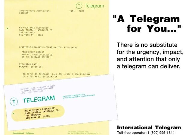 An example of a modern-day telegram