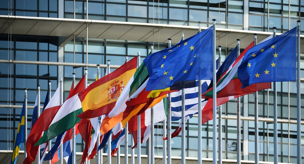 Flags outside the building of the European Parliament in Strasbourg