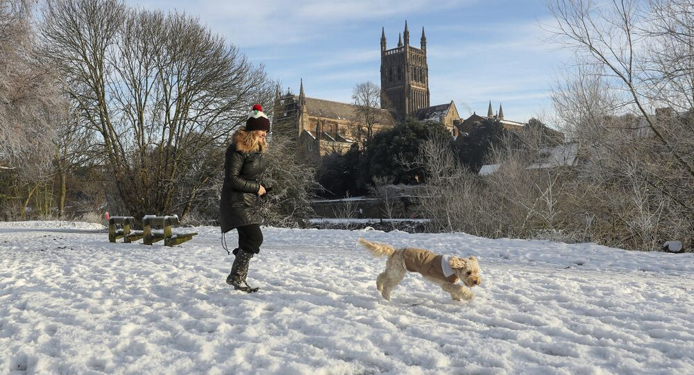 A woman takes her dog for a walk along a snow covered path on the banks of the River Seven in Worcester, England, Tuesday Dec. 12, 2017