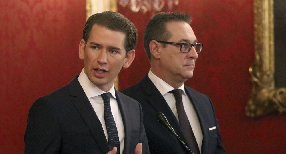 Sebastian Kurz, left, and Heinz-Christian Strache, chairman of the right-wing Freedom Party, FPOE, talk to press after talks with Austrian President Alexander van der Bellen at the Hofburg palace in Vienna, Austria, Saturday, Dec. 16, 2017