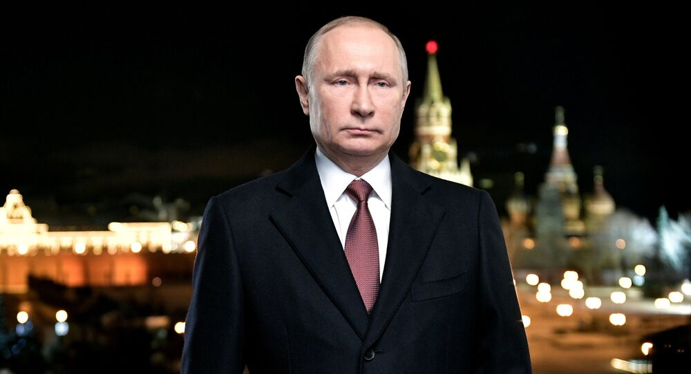 December 31, 2017. Russian President Vladimir Putin during his New Year address to Russian citizens on the eve of 2018
