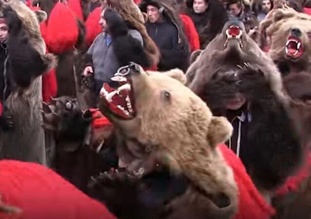 Bear Parade in Romania