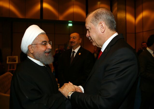 Turkish President Tayyip Erdogan meets with Iran's President Hassan Rouhani during an extraordinary meeting of the Organisation of Islamic Cooperation (OIC) in Istanbul, Turkey, December 13, 2017