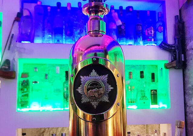 A bottle of Russo-Baltique vodka which was stolen on January 2, 2018 from Cafe 33 in Copenhagen, Denmark