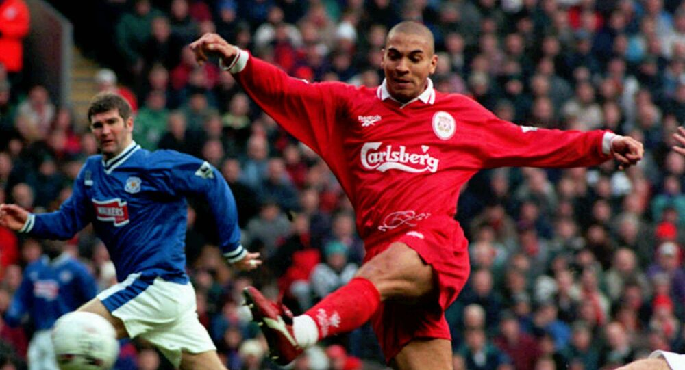 Liverpool's Stan Collymore volleys a shot at goal during the Premiership match against Leicester City at Anfield, Liverpool, Thursday, Dec. 26, 1996
