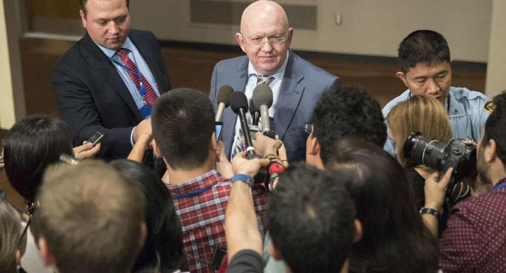 Russian Ambassador to the United Nations Vassily Nebenzia speaks to reporters after Security Council consultations on the situation in North Korea, Friday, Sept. 15, 2017 at United Nations headquarters.