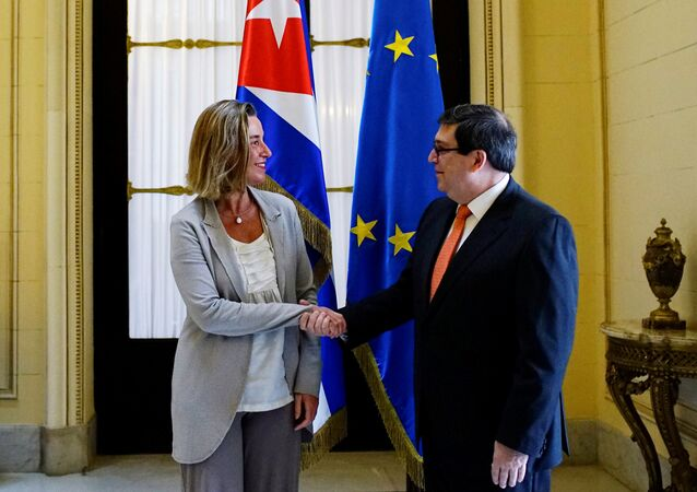 EU foreign policy chief Federica Mogherini shakes hands with Cuba's Foreign Minister Bruno Rodriguez in Havana, Cuba, January 4, 2018