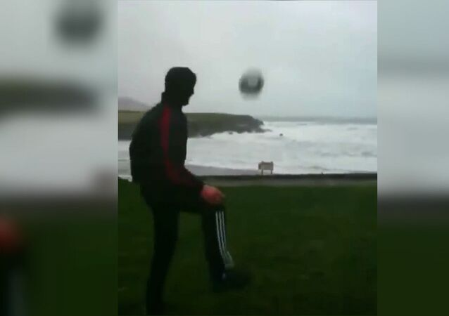 Football with storm Eleanor