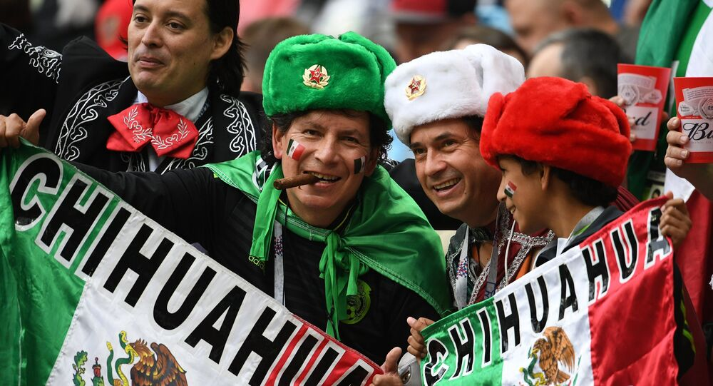 Mexican fans before the 2017 FIFA Confederations Cup match between Mexico and Russia