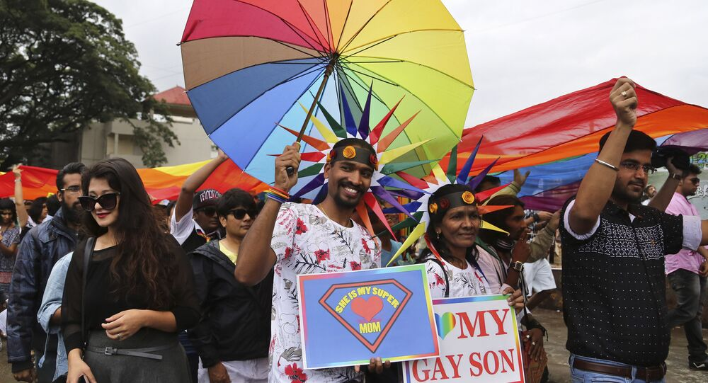 Members and supporters of lesbian, gay, bisexual and transgender community, participate in 'Pride March' rally in Bangalore, India, Sunday, Nov. 22, 2015.