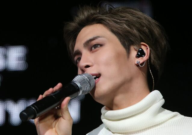 This undated picture released by Yonhap news agency in Seoul on December 18, 2017 shows Kim Jong-Hyun, singer of popular K-pop group SHINee