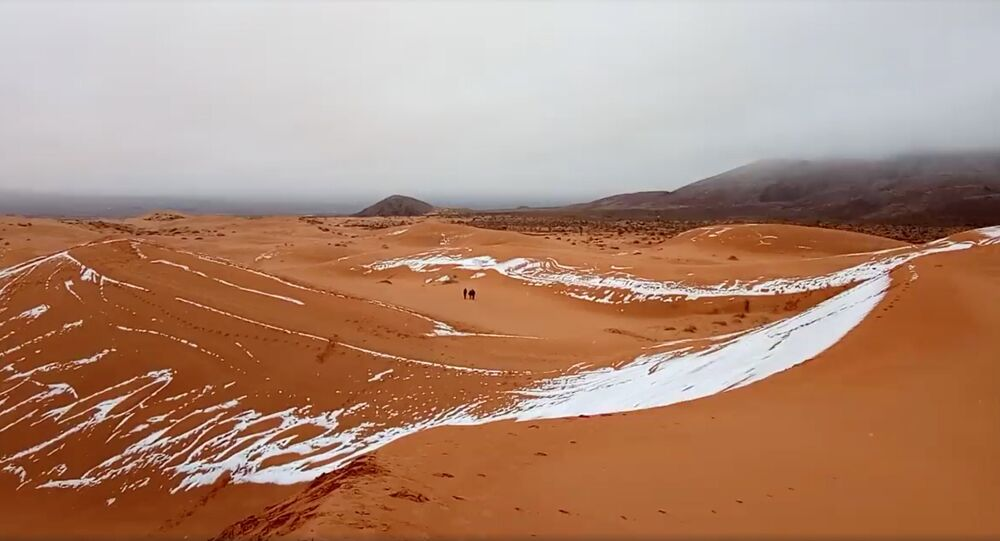 View of snow in the Sahara, Ain Sefra, Algeria