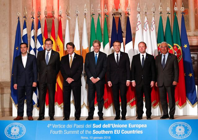 (L to R) Greek Prime Minister Alexis Tsipras, Spanish Prime Minister Mariano Rajoy, Cyprus President Nicos Anastasiades, Italian Prime Minister Paolo Gentiloni, French President Emmanuel Macron, Maltese Prime Minister Joseph Muscat and Portuguese Prime Minister Antonio Costa pose during a southern European Union nations meeting in Rome, Italy January 10, 2018