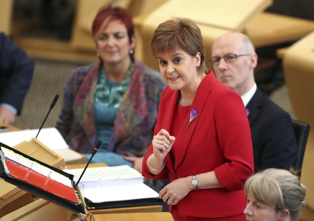 First Minister Nicola Sturgeon during First Minister's Questions at the Scottish Parliament in Edinburgh, Scotland, Thursday Oct. 26, 2017