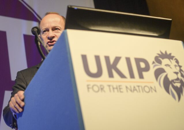 Henry Bolton, who has been elected as the new party leader of Britain's UK Independence Party speaks during the UKIP National Conference in Torquay England Friday Sept. 29, 2017