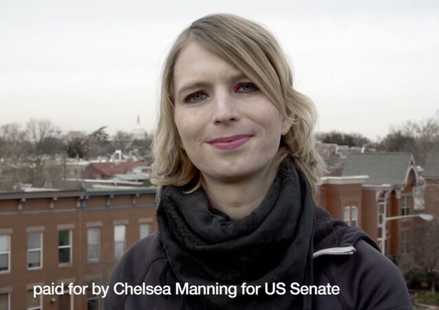 This frame from video released by the Chelsea Manning Senate campaign on Sunday, Jan. 14, 2018 shows Chelsea Manning in a campaign video