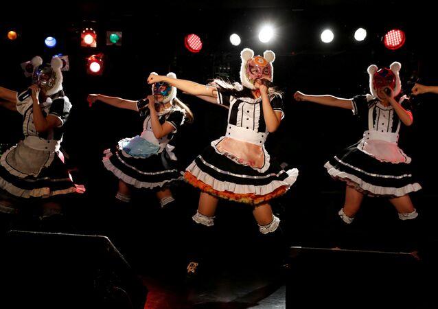 Members of Japan's idol group Virtual Currency Girls