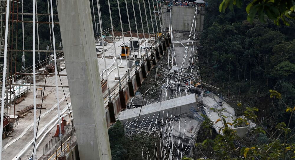 View of a bridge under construction that collapsed leaving dead and injured workers in Chirajara near Bogota, Colombia January 15, 2018.