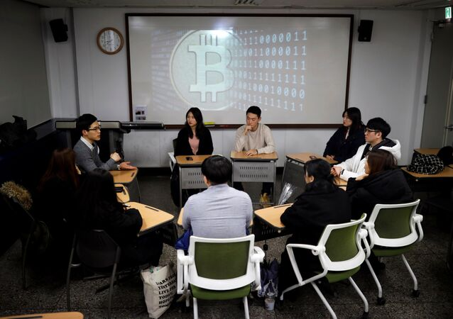 Members of a club studying cryptocurrencies, attend a meeting at a university in Seoul, South Korea, December 20, 2017. Picture taken December 20, 2017