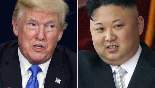 President Donald Trump, left, in Dallas and North Korean leader Kim Jong Un in Pyongyang - Sputnik International