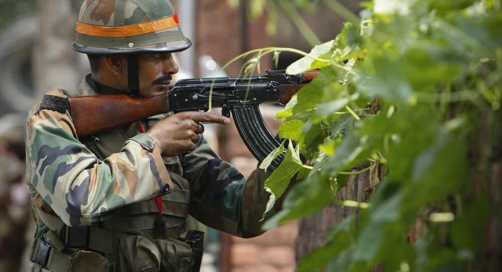 An Indian army soldier holds an AK-47 assault rifle. (File)