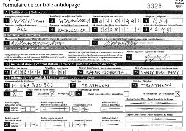 Henri Schoeman's Doping Control Form, Noting His Use of Prednisolone © Sputnik