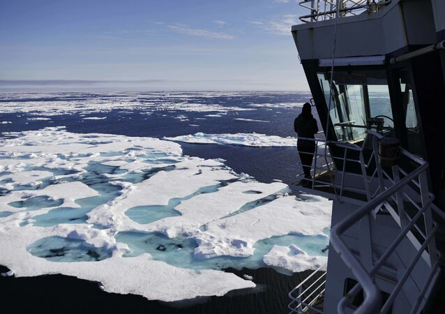 The Finnish icebreaker MSV Nordica sails through ice floating on the Chukchi Sea off the coast of Alaska, Sunday, July 16, 2017, while traversing the Arctic's Northwest Passage, the treacherous, ice-bound route where Norwegian explorer Roald Amundsen made the first successful transit in 1906