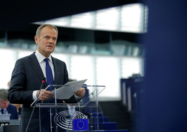 European Council President Donald Tusk speaks during a debate at the European Parliament in Strasbourg, eastern France