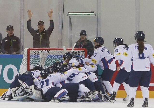 South Korean players celebrate after winning against the Netherlands during their IIHF Ice Hockey Women's World Championship Division II Group A game in Gangneung, South Korea. (File)