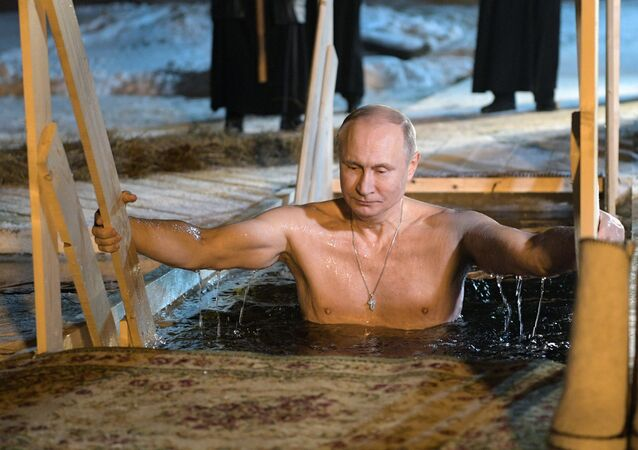 The Russian President V. Putin has taken part in Epiphany bathings on the Lake Seliger