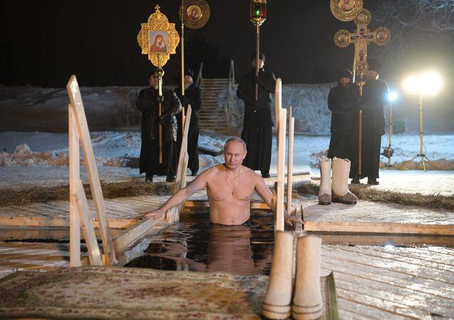 The Russian President V. Putin has taken part in Epiphany bathings on the Lake Seliger