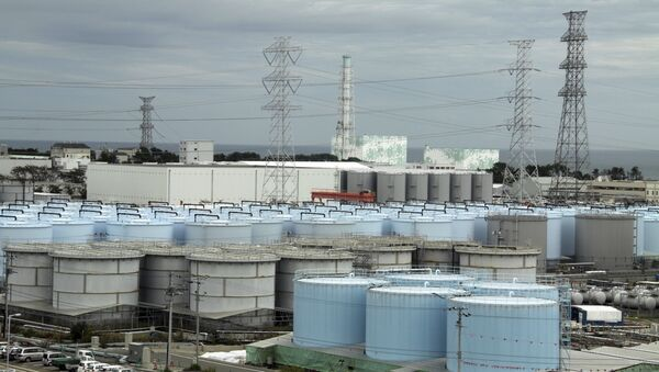 In this Oct. 12, 2017, photo, ever-growing amount of contaminated, treated but still slightly radioactive, water at the wrecked Fukushima Dai-ichi nuclear plant is stored in about 900 huge tanks, including those seen in this photo taken during a plant tour at Fukushima Daiichi Nuclear Power Plant in Okuma, Fukushima Prefecture, northeast of Tokyo - Sputnik International