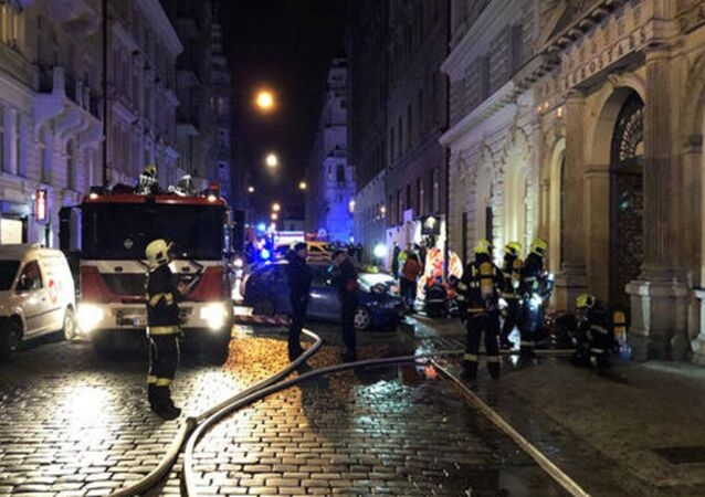 emergency services control a deadly fire at tourist hotel in Prague, January 20, 2018