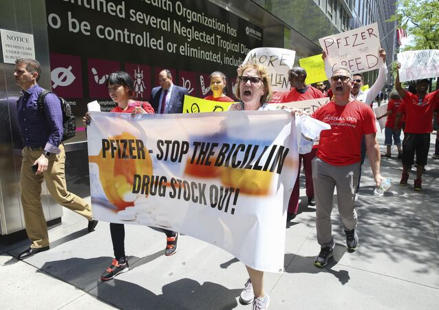 Protestors march during the Pfizer Stop the Bicillin Drug Shortage demonstration outside of Pfizer headquarters on Thursday May 18, 2017 in New York.