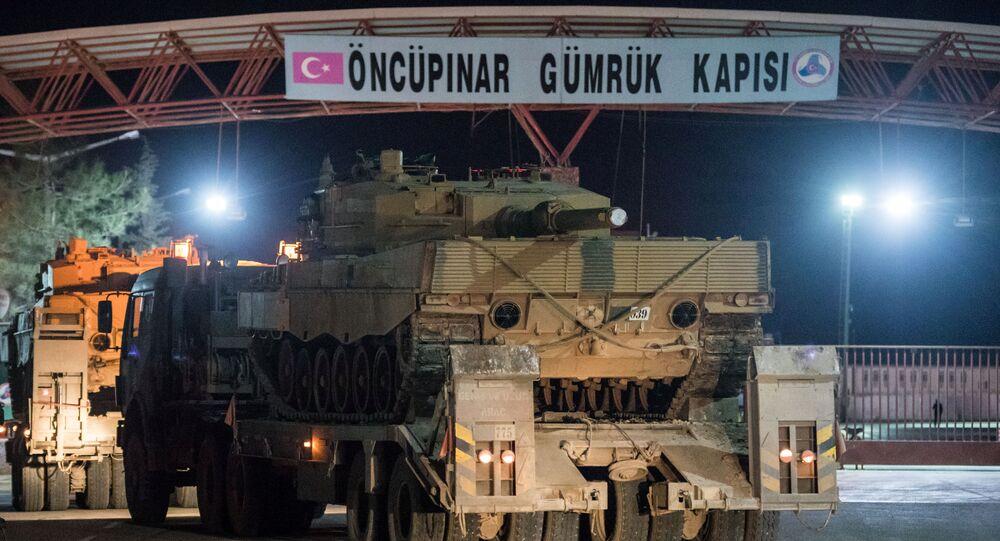Turkish military vehicles cross into Syria at Oncupinar border gate in Kilis, Turkey, January 20, 2018