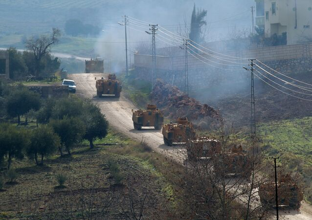 Turkish military armoured vehicles arrive at a border village near the town of Hassa in Hatay province, Turkey, Turkey January 21, 2018