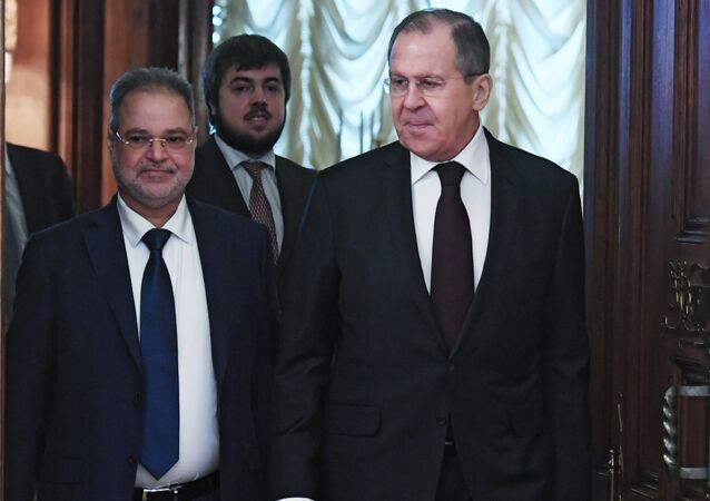 Russian Foreign Minister Sergei Lavrov and his Yemeni counterpart Abdulmalik Abduljalil Al-Mekhlafi, left, during a meeting in Moscow