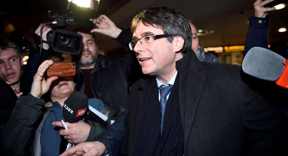 Catalan separatist leader Charles Puigdemont arrives at Copenhagen Airport, Denmark January 22, 2018