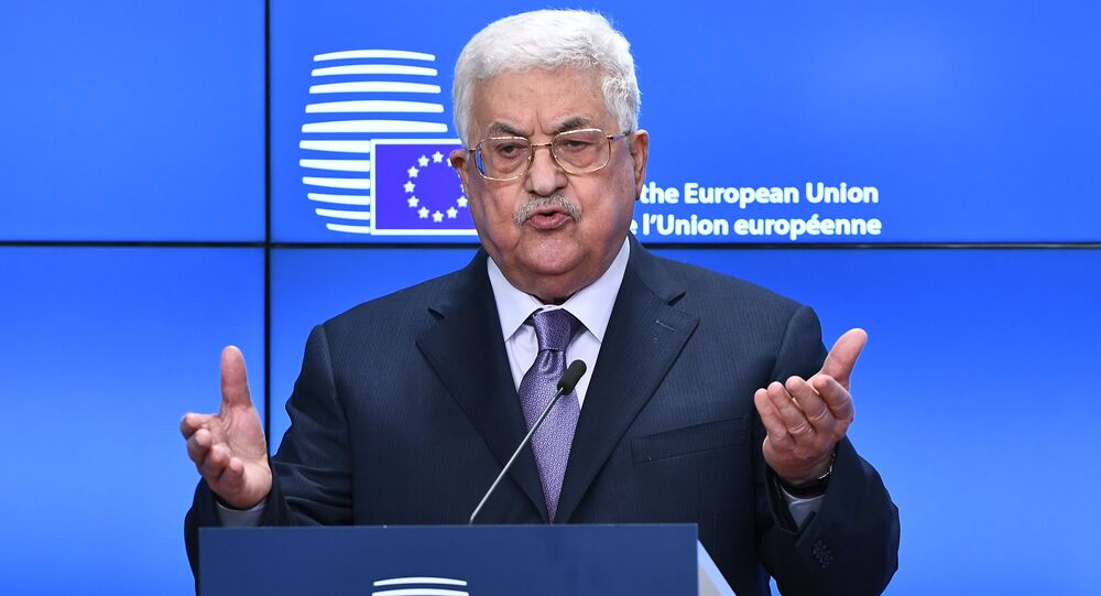 Palestinian President Mahmoud Abbas speaks prior to attend a EU foreign affairs council at the European Council in Brussels