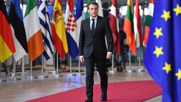 France's President Emmanuel Macron arrives to attend the first day of a European union summit in Brussels on December 14, 2017 - Sputnik International