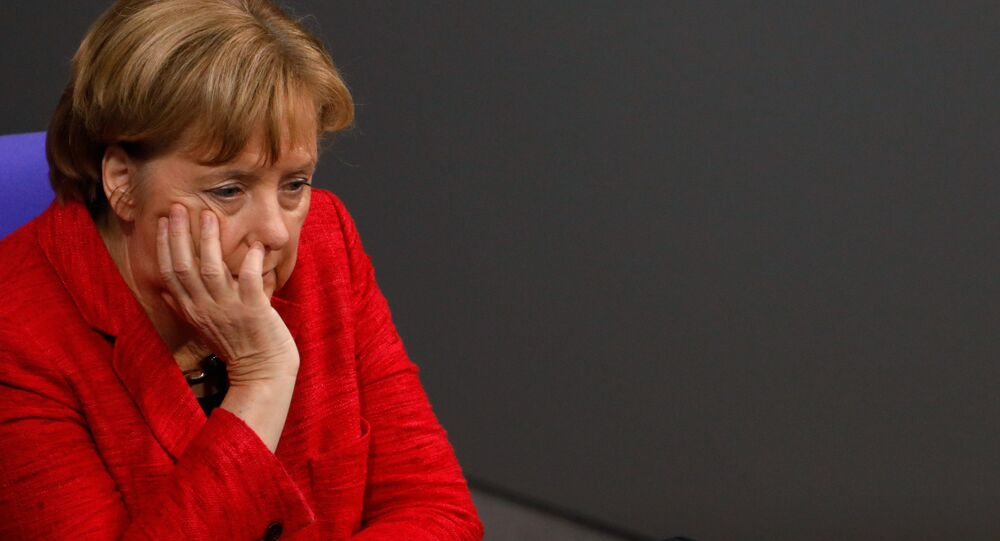 German Chancellor Angela Merkel looks on during a session at the Bundestag lower house of Parliament, on November 21, 2017 in Berlin.