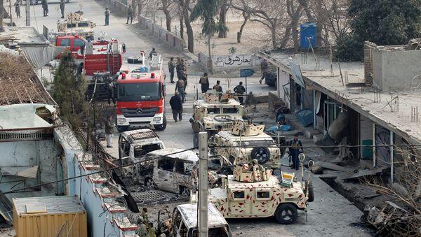 Afghan security forces inspect the site of a blast in Jalalabad, Afghanistan - Sputnik International