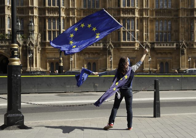 A pro-remain supporter of Britain staying in the EU, holds up an EU flag whilst taking part in an anti-Brexit protest outside the Houses of Parliament in London (File)